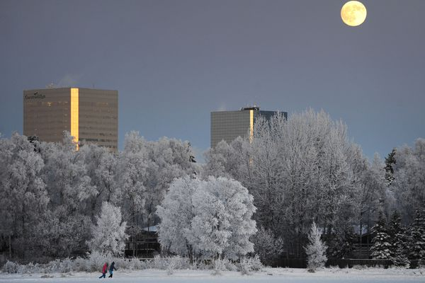 The moon rises above the Anchorage skyline as people ice skate on Westchester Lagoon on Thursday, Jan. 9, 2020. The moon will become full at 10:21 a.m. on Friday and is known as a Wolf Full Moon, the first Full Moon of the year is named after howling wolves. (Bill Roth / ADN)