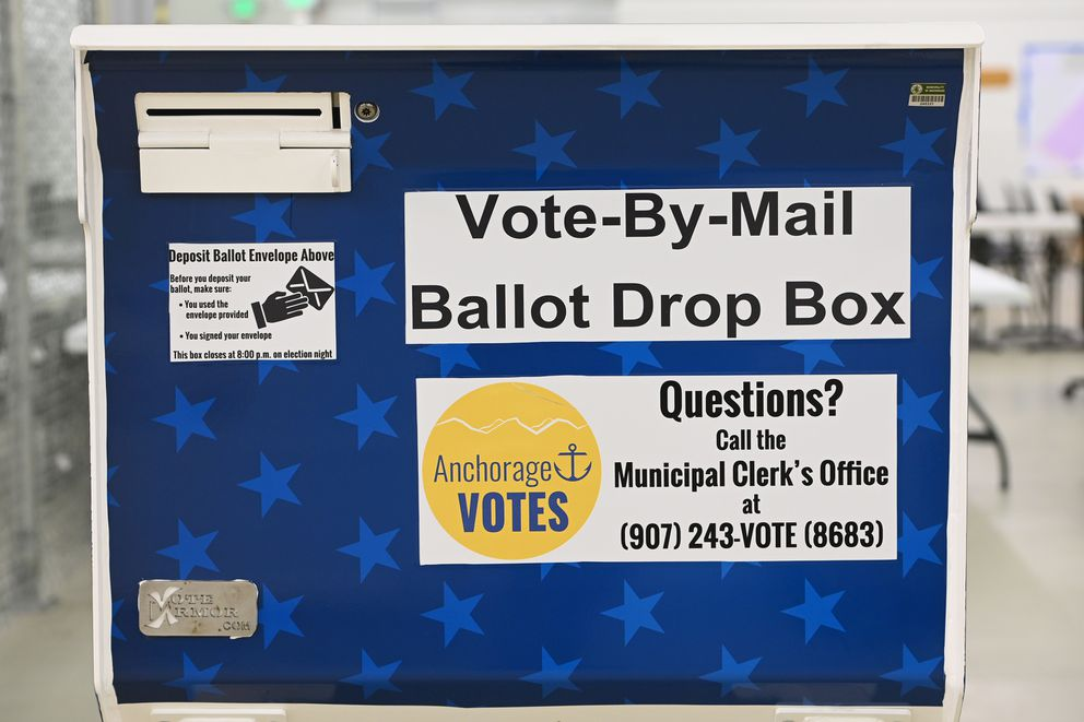 Vote-by-mail ballot drop box stored at the Municipality of Anchorage Election Center on Monday, March 3, 2021. (Bill Roth / ADN)
