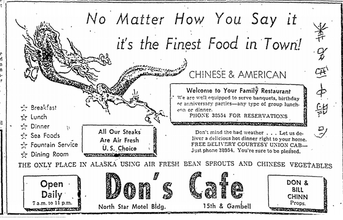 1956 advertisement for Don's Cafe in the Anchorage Daily Times.