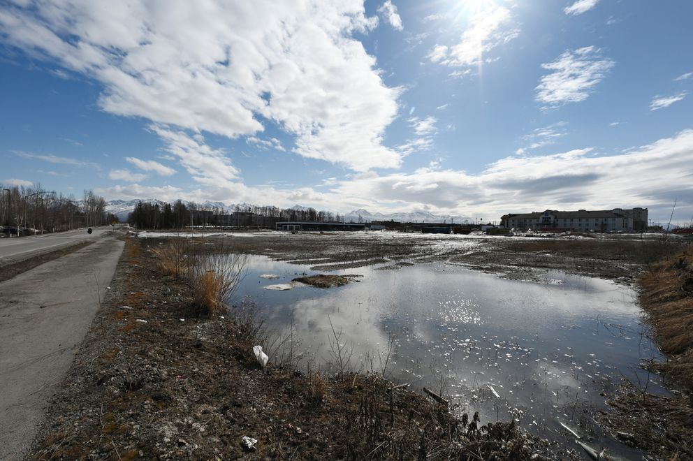 Property in Midtown Anchorage on Tuesday, April 20, 2021, where a Holiday Inn Express and Candlewood Suites is planned. (Bill Roth / ADN)