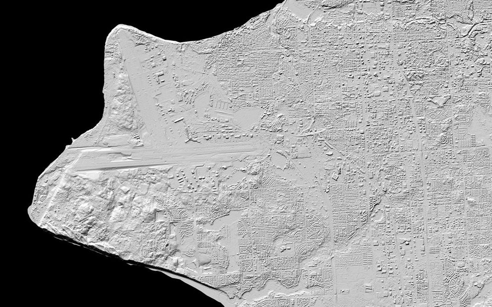 A map of Anchorage, Alaska, produced as part of the Arctic Digital Elevation Models project, a collaborative effort between the National Geospatial-Intelligence Agency and the National Science Foundation. (White House photo)
