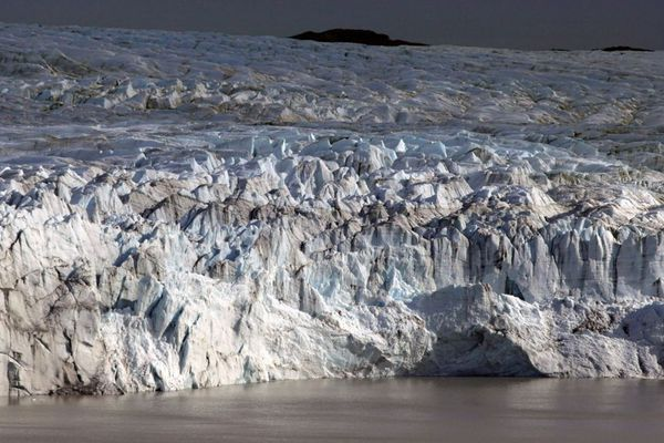 The melting front of a glacier at the edge of the Greenland ice sheet, near Kangerlussuaq, Greenland. Greenland is the focus of many researchers trying to determine how much its melting ice may raise sea levels.