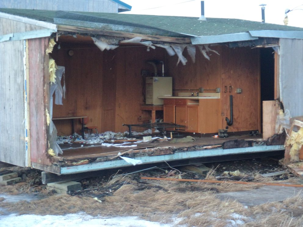 One of the homes damaged in Savoonga during the winter storms. (Courtesy City of Savoonga via DHSEM)