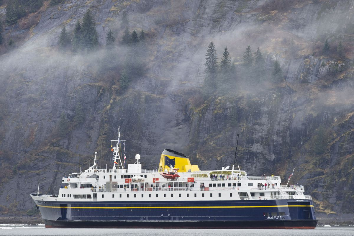 The Alaska Marine Highway ferry Malaspina cruises through Tracy Arm near Juneau in May 2013. The Malaspina has been unused since 2019, and state officials are considering whether to scuttle it in order to save on upkeep. (Michael Penn/Juneau Empire via AP, File)