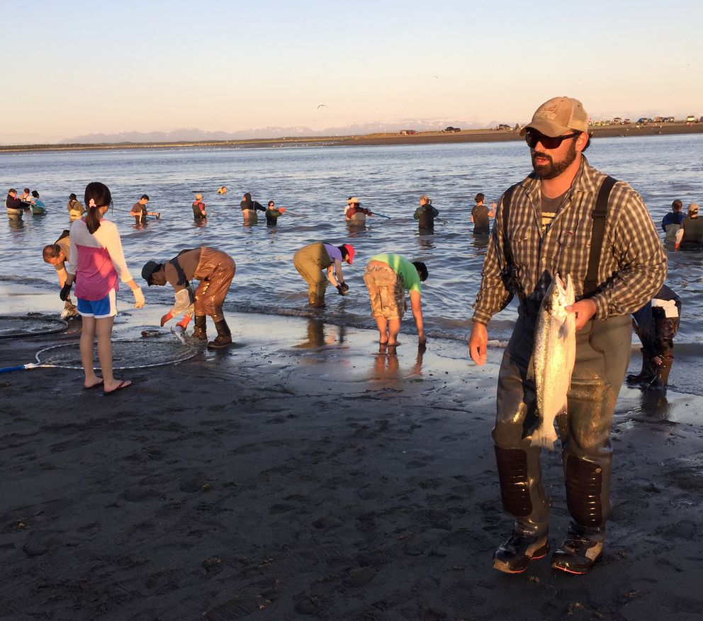 Thousands of people were on the Kenai River to dipnet for sockeye salmon on July 19, 2015. (Anne Raup / Alaska Dispatch News file)