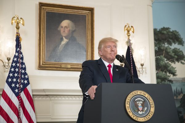 President Donald Trump delivers a statement in the Diplomatic Reception Room of the White House, in Washington, Aug. 14, 2017. Trump bowed to overwhelming pressure that he personally condemn white supremacists who incited bloody demonstrations in Charlottesville, Va., over the weekend Ñ labeling their racists views ÒevilÓ after two days of equivocal statements. (Tom Brenner/The New York Times)