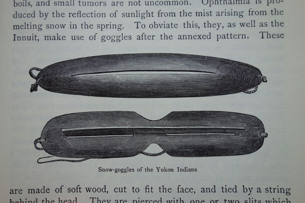 """William Dall's sketch of goggles used by Natives to prevent snowblindness, from """"Alaska and its Resources."""""""