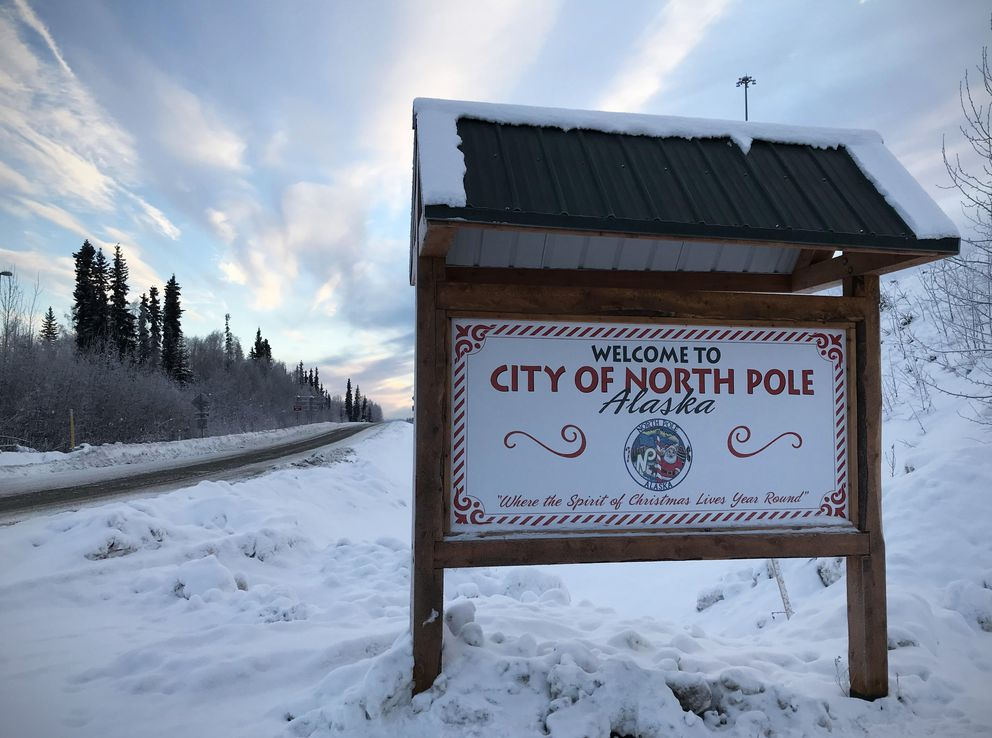 A sign welcomes people to North Pole, Alaska, onChristmas Day. (Vicky Ho / ADN)