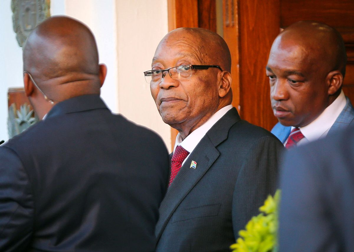FILE: President Jacob Zuma leaves Tuynhuys, the office of the Presidency at Parliament in Cape Town, South Africa, February 7, 2018. REUTERS