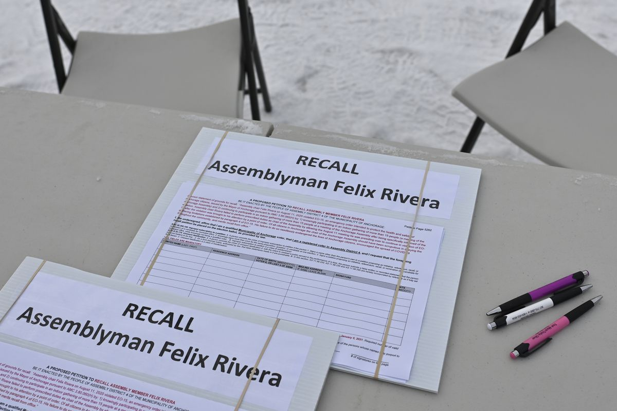 A petition to recall Anchorage Assembly member Felix Rivera is set up outside Kriner's Diner in Anchorage on January 4, 2021. (Marc Lester / ADN)