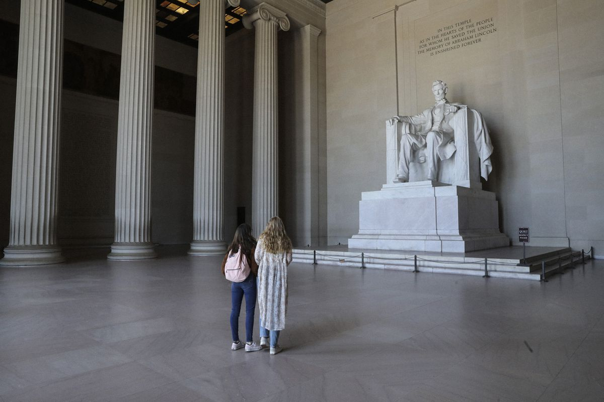 The Lincoln Memorial is sparsely visited during the novel coronavirus outbreak. Photo for The Washington Post by Oliver Contreras