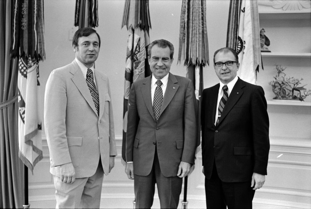 Shortly after his special election victory in 1973, Rep. Don Young, left, met in the White House with President Richard Nixon and Jack Coghill, who directed Young's campaign on March 15, 1973. (White House photo)