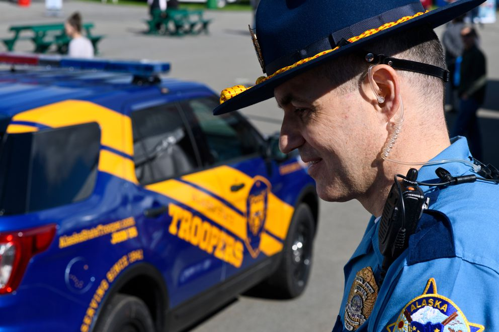 Sgt. David Willson of the Alaska State Trooper recruitment unit said the vehicles on display at the Alaska State Fair have attracted attention. Trooper vehicles on display at the Alaska State Fair show proposed design changes on August 28, 2018. (Marc Lester / ADN)