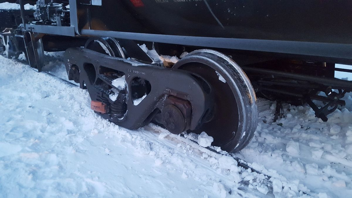 A single Alaska Railroad railcar rolled off tracks near Cantwell, Tuesday, Jan. 15, 2019. (Photo provided by Alaska Railroad Corp.)