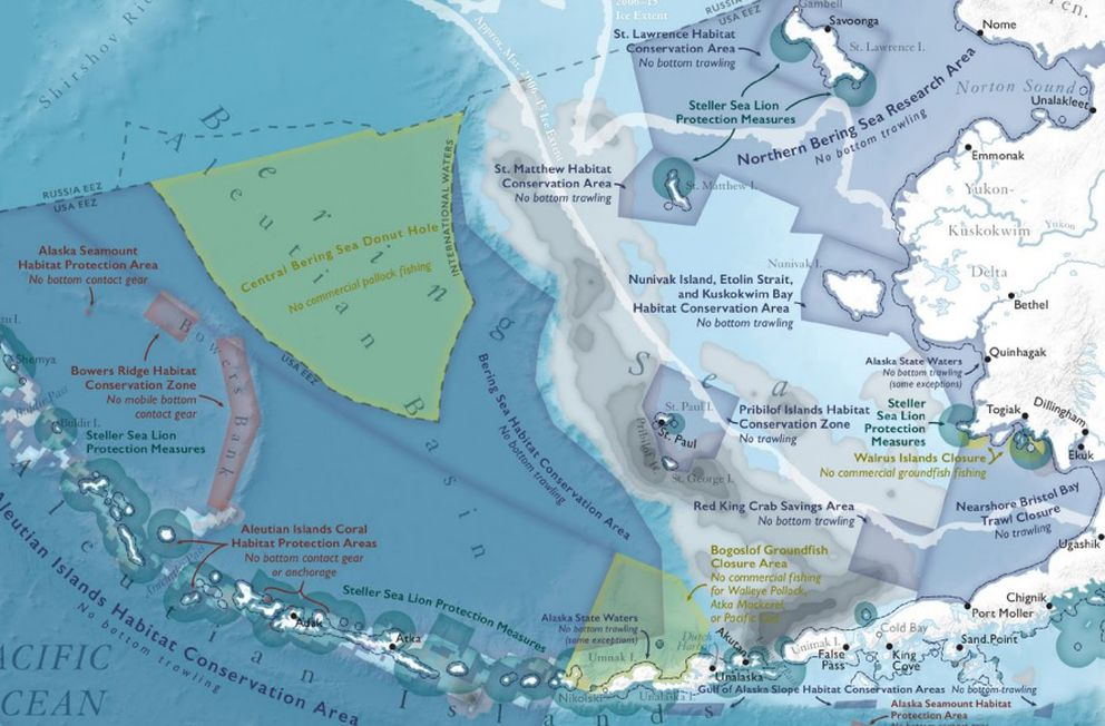 "A map of fisheries management conservation areas published in the ""Ecological Atlas of the Bering, Chukchi and Beaufort Seas,"" a project led by Audubon Alaska. (ak.audubon.org)"
