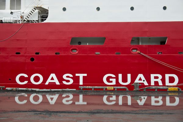 The U.S. Coast Guard Cutter Healy is docked in Seward on Tuesday, August 16, 2016. The Coast Guard calls the Healy its newest and most technologically advanced polar ice breaker designed for a wide range of research activities. (Marc Lester / Alaska Dispatch News)