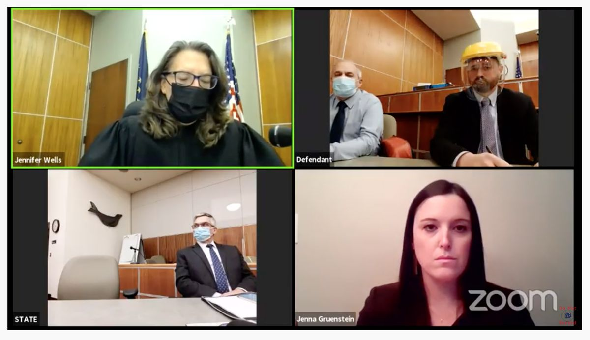 Carmen Perzechino was found guilty of rape and kidnapping in a cold case from 2001 on Nov. 4, 2020. In the Zoom proceeding screenshot are, from upper left, Superior Court Judge Jennifer Wells, defendant Carmen Perzechino, defense attorney Andy Pevehouse. Lower left, investigator Mike Burkmire and prosecutor Jenna Gruenstein. (Screenshot)