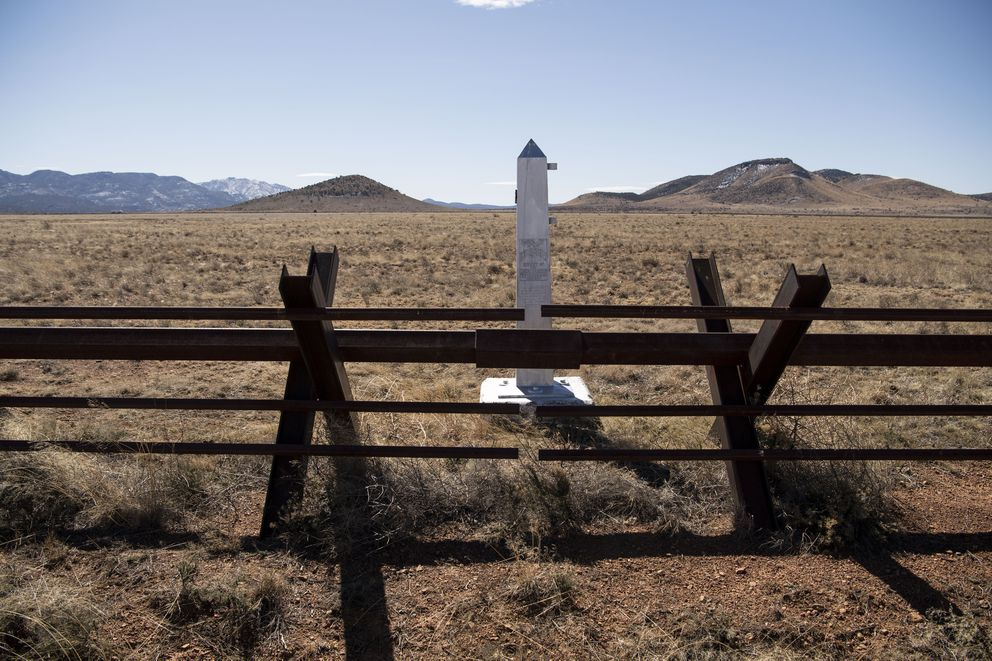 An old border boundary marker sits on the edge of the Diamond A Ranch near Antelope Wells, N.M., on Feb. 21. (Washington Post photo by Carolyn Van Houten)