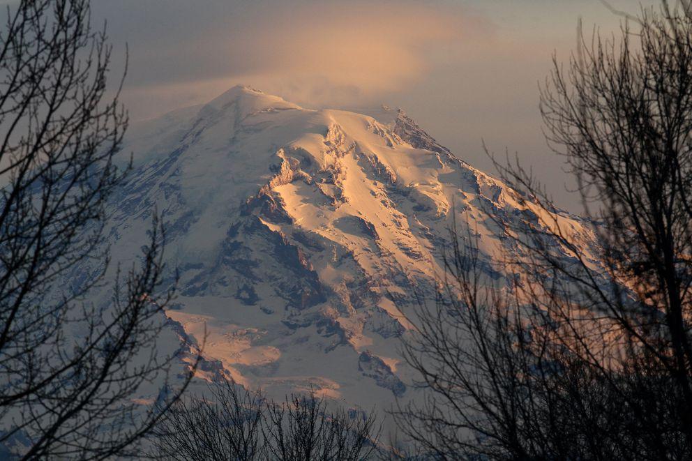 Mount Rainier at dusk in January 2012. (Ellen M. Banner/Seattle Times/TNS)