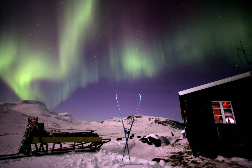 On the King's Trail above the Arctic Circle in Abisko, Sweden in March 2005. (Vincent Laforet/The New York Times)