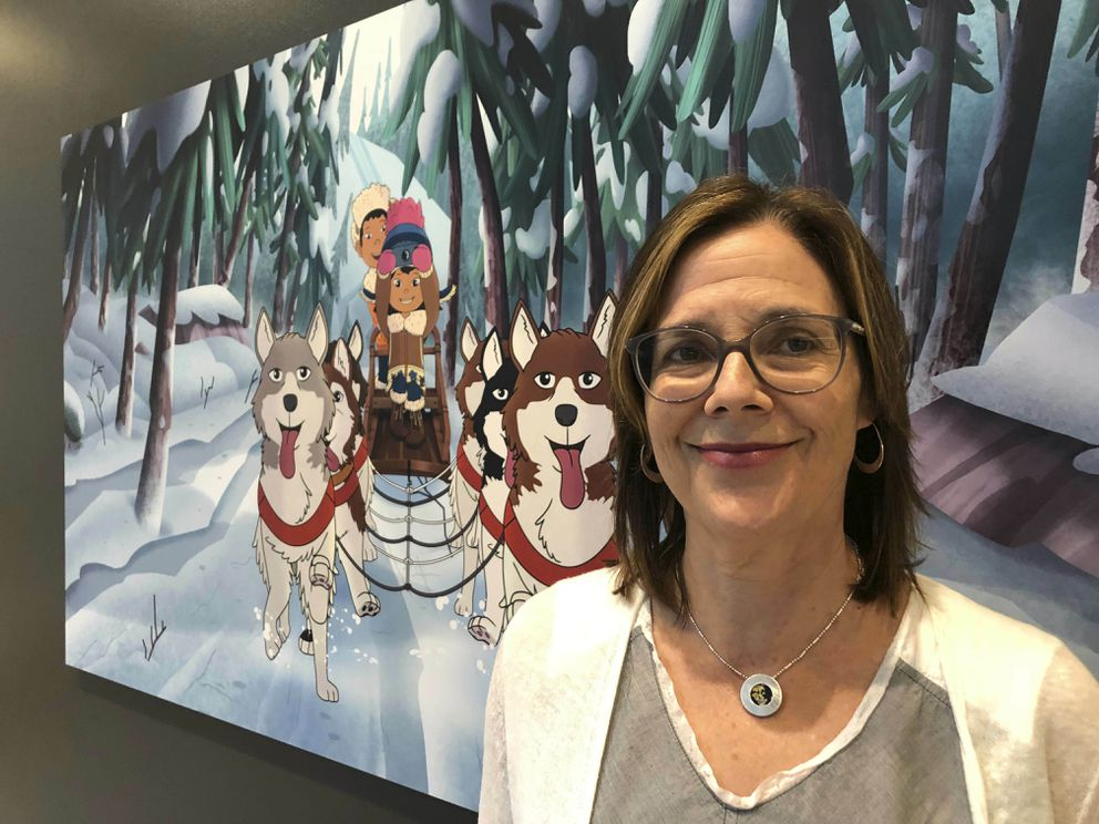 This June 27, 2019 photo shows Dorothea Gillim, executive producer and co-creator of 'Molly of Denali, ' at the Anchorage Museum in Anchorage, Alaska. The animated show, which highlights the adventures of a 10-year-old Athabascan girl, Molly Mabray, premieres July 15 on PBS Kids. (AP Photo/Mark Thiessen)