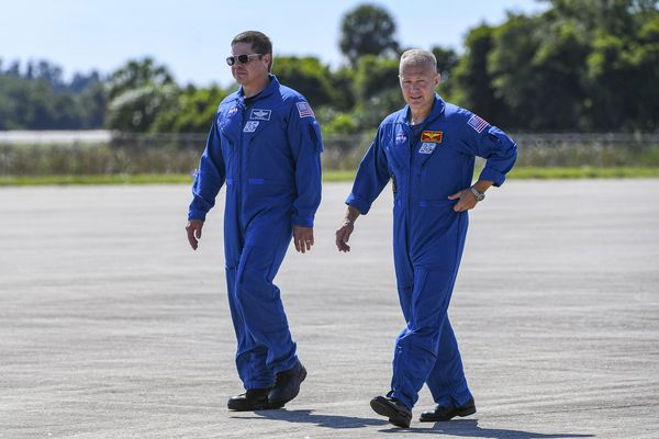NASA astronauts Doug Hurley (right) and Bob Behnken arrive at Kennedy Space Center. They're scheduled to blast off May 27 atop a SpaceX Falcon 9 rocket, bound for the International Space Station. MUST CREDIT: Washington Post photo by Jonathan Newton