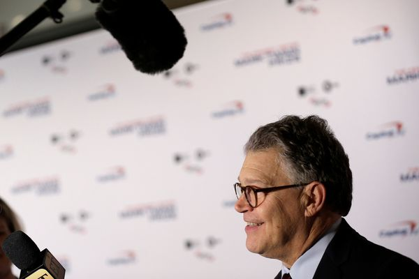Sen. Al Franken speaks to the media at a gala honoring David Letterman at the Kennedy Center in Washington on Oct. 22, 2017. (REUTERS/Joshua Roberts)