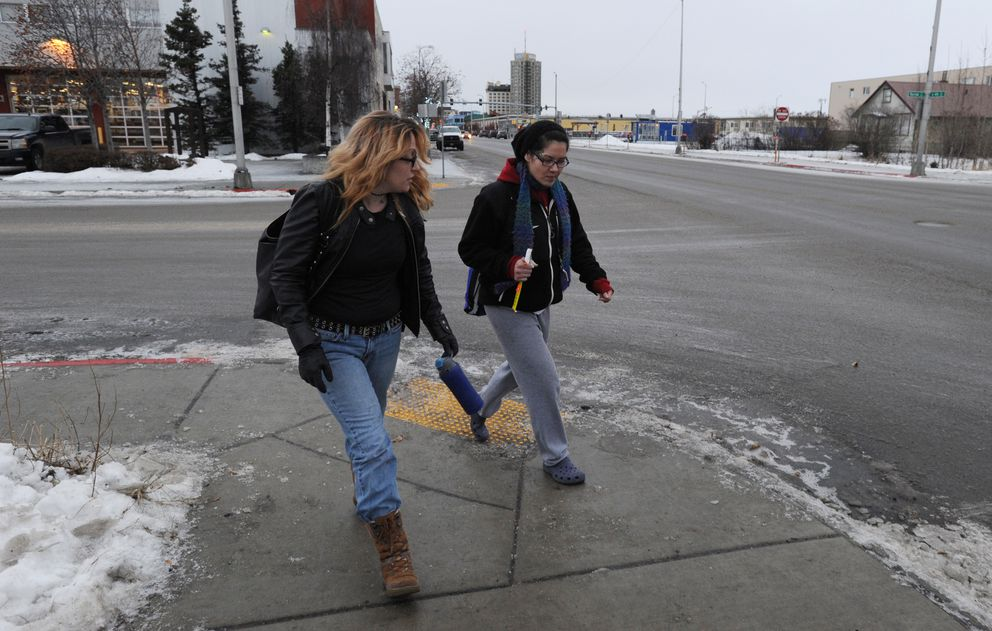 Heather Willems, left, and her roommate Lisa Alexanderoff walk to lunch after meeting at the Partners Reentry Center. (Bill Roth / ADN)