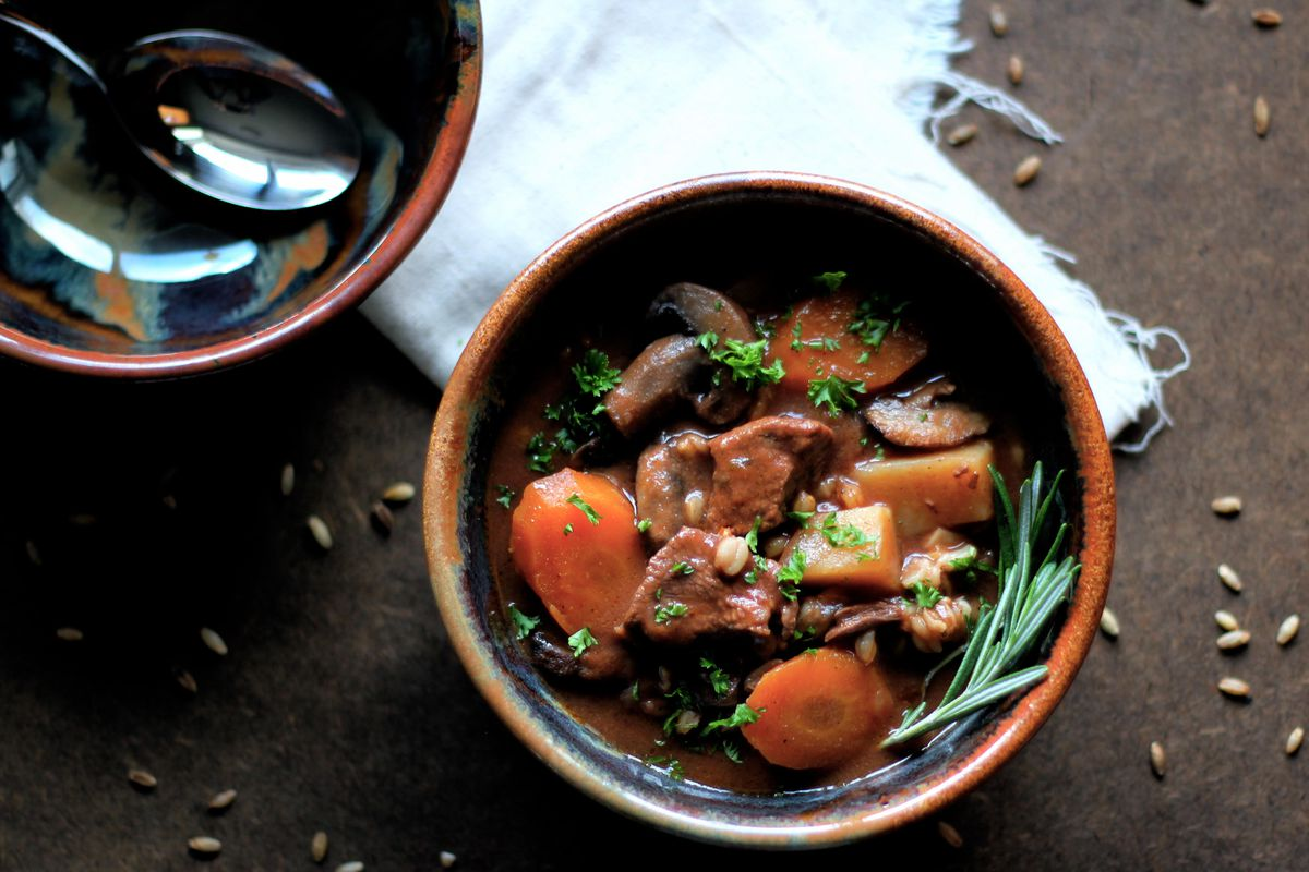 Slow cooker beef and barley stew. (Maya Wilson / Alaska From Scratch)