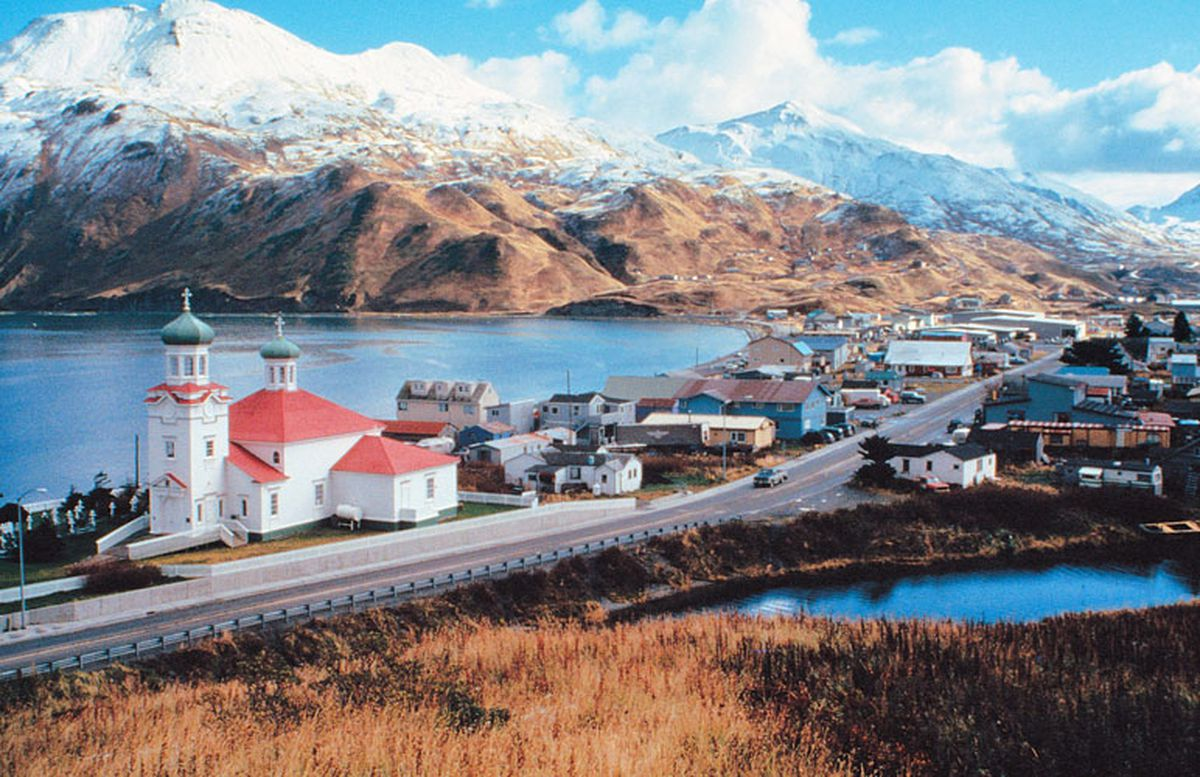 The city of Unalaska, in the Aleutian Islands, in an undated photo.