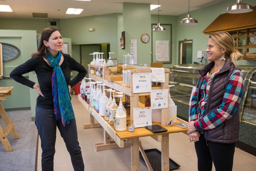 Jess Johnson, left, and Jennifer Gordon, co-owners of Blue Market AK, at their store on Thursday, Oct. 31, 2019. (Loren Holmes / ADN)