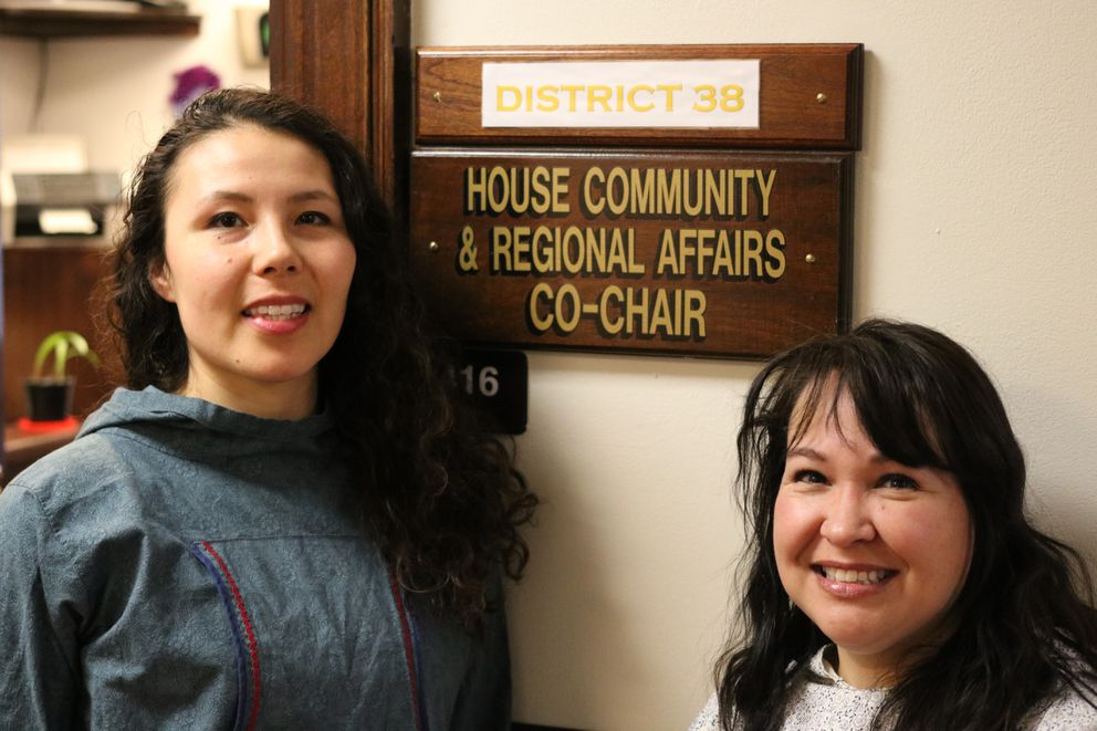 Mary Schlosser, left, and Michelle Sparck stand Thursday, February 22, 2018 outside the office of House District 38 at the Capitol in Juneau. Schlosser and Sparck have been working without a boss for the past month after Zach Fansler, a Democrat from Bethel, resigned when a woman accused him of slapping her. (Nathaniel Herz / ADN)