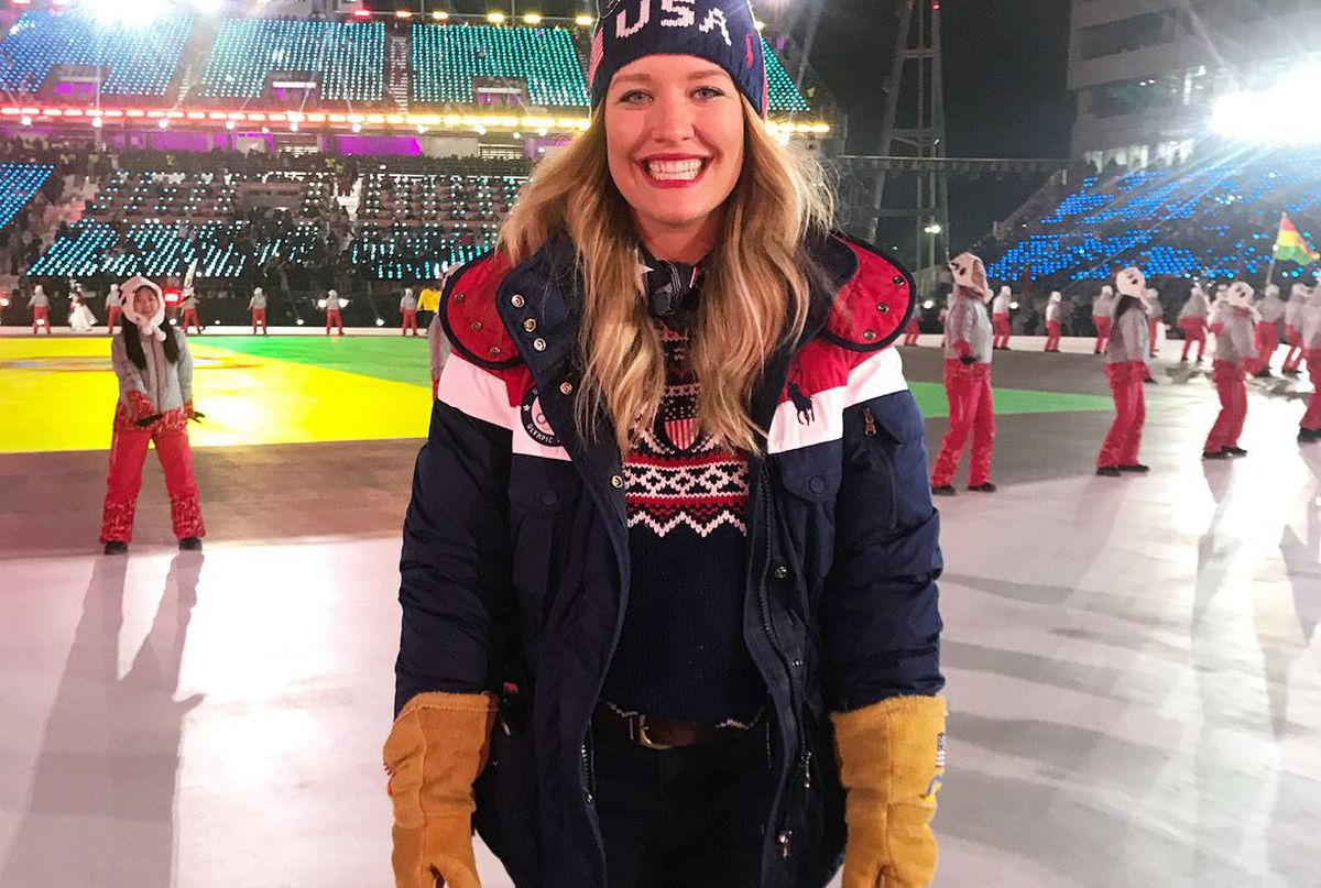 Rosie Mancari at the Opening Ceremonies of the Pyeongchang Winter Olympics on Saturday. (Photo courtesy Angel Mancari)