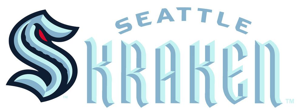 This combo of artists renderings released Thursday, July 23, 2020, by the Seattle Kraken, shows the NHL hockey team's new logo, left, and name. (Seattle Kraken via AP)