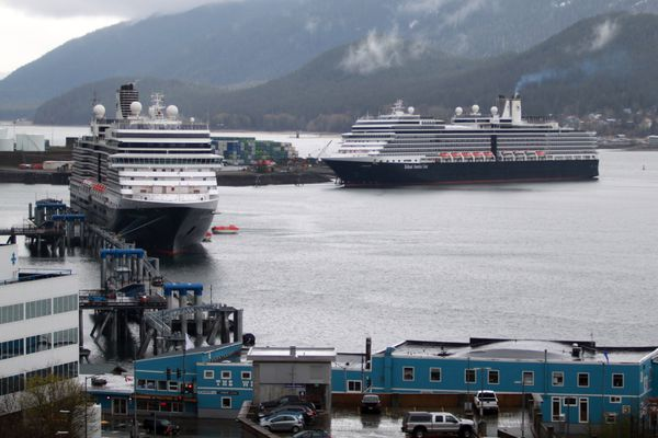 Juneau's first two cruise ships of the summer, Holland America's Nieuw Amsterdam and Eurodam, arrived in port Monday afternoon, May 1, 2017, pictured here from the fifth floor of the Alaska Capitol. (Nathaniel Herz / Alaska Dispatch News)