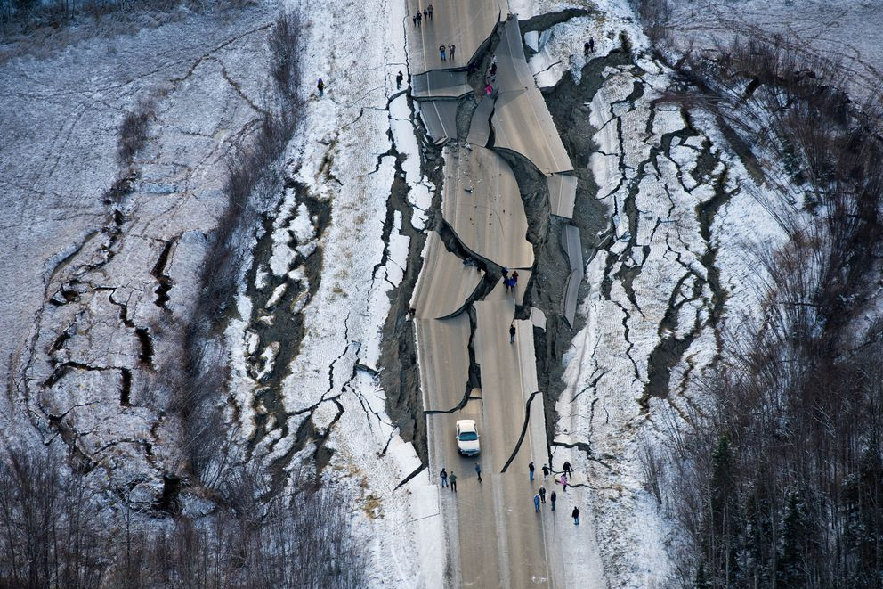 Vine Road, near Wasilla, was heavily damaged by an earthquake on November 30, 2018. (Marc Lester / ADN)