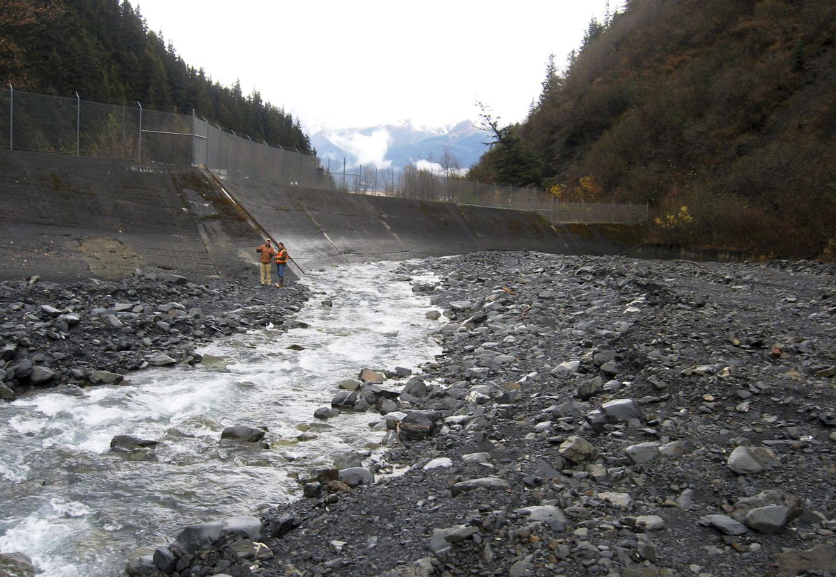 This undated photo provided by the U.S. Army Corps of Engineers shows a diversion dam on Lowell Creek, high above the town of Seward, Alaska. Beginning every fall, heavy storms test Seward's antiquated flood-control system, leading to fears of a major disaster should it finally fail after nearly eight decades of diverting a fast-moving creek away from its historical route through town. Officials say a tunnel that carries flood waters from Lowell Creek to Resurrection Bay could get clogged by tree stumps or boulders. (U.S. Army Corps of Engineers via AP)