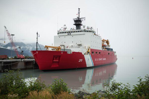 The U.S. Coast Guard Cutter Healy, docked in Seward on Friday, Aug. 12, 2016. (Loren Holmes / Alaska Dispatch News)