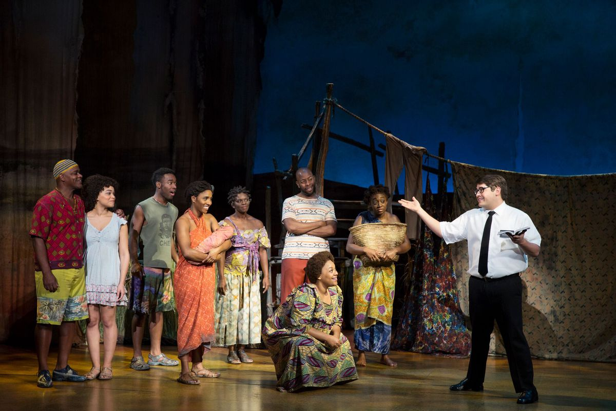 "The touring company for ""The Book of Mormon"" (Photo by Julieta Cervantes)"