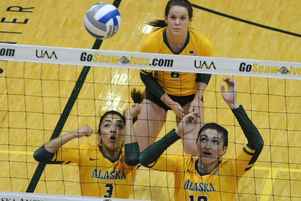 Anais Vargas, Casey Davenport and Vanessa Hayes, of UAA, defend the net during a loss to Cal Baptist 3-0 in the 2017 West Region Showcase at the Alaska Airlines Center at UAA in Anchorage, Alaska on Friday, Sept. 8, 2017. (Bob Hallinen / Alaska Dispatch News)