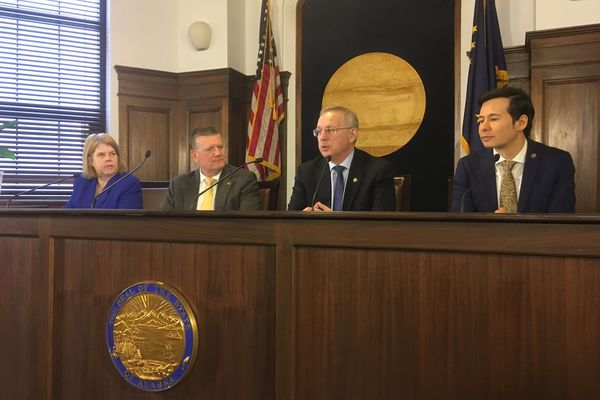 Members of the coalition majority in the Alaska House of Representatives hold a press conference Friday morning, April 12, 2019. From left to right are Rep. Tammie Wilson, R-North Pole; Rep. Chuck Kopp, R-Anchorage; Rep. Bryce Edgmon, I-Dillingham; and Rep. Neal Foster, D-Nome. (James Brooks / ADN)