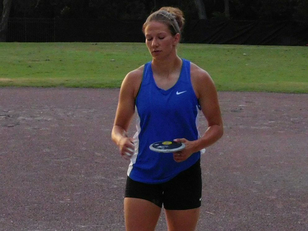 Paige Blackburn trains for discus at the University of Florida Track and Field stadium in Gainesville, Florida. She'll be throwing discus in the Olympic Trials. (Photo by Karlee McQuillen)