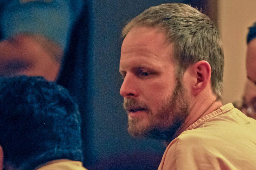 Justin Schneider appears in Anchorage district court on August 17, 2017. (Kirsten Swann / Alaska Star)