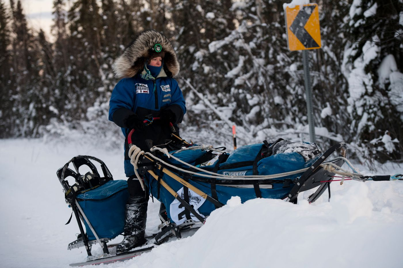 Paige Drobny, of Ester, leaves Central. Yukon Quest International Sled Dog Race frontrunners passed checkpoints along the Steese Highway on February 10, 2019. (Marc Lester / ADN)