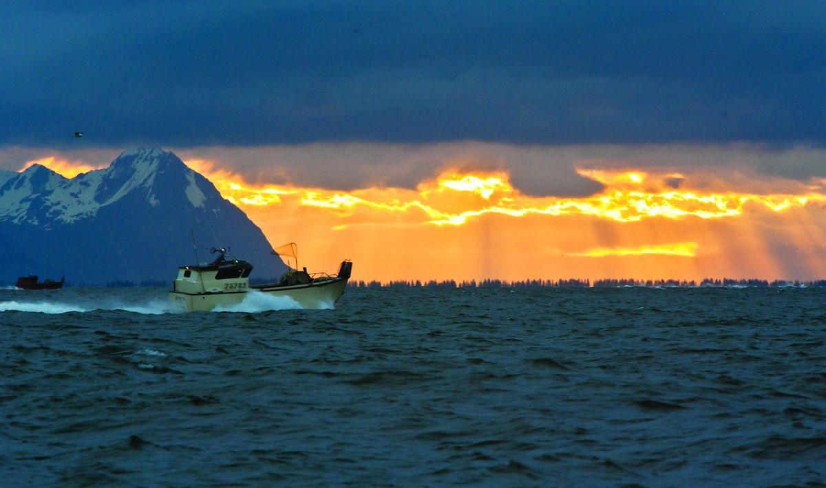 Part of the Copper River commercial fishing fleet heads out onto the delta at sunrise in preparation of the opener on May 16, 2016. This view looks upriver with Flag Point on the Copper River Highway on the left side of the picture. (Bob Martinson / Photoshelter.com)