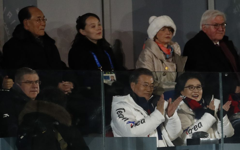 Kim Yo Jong (top, second from left), sister of North Korean leader Kim Jong Un, with South Korean President Moon Jae-in (seated, in white coat), IOC President Thomas Bach and German President Frank-Walter Steinmeier at the opening ceremony. REUTERS/Damir Sagolj