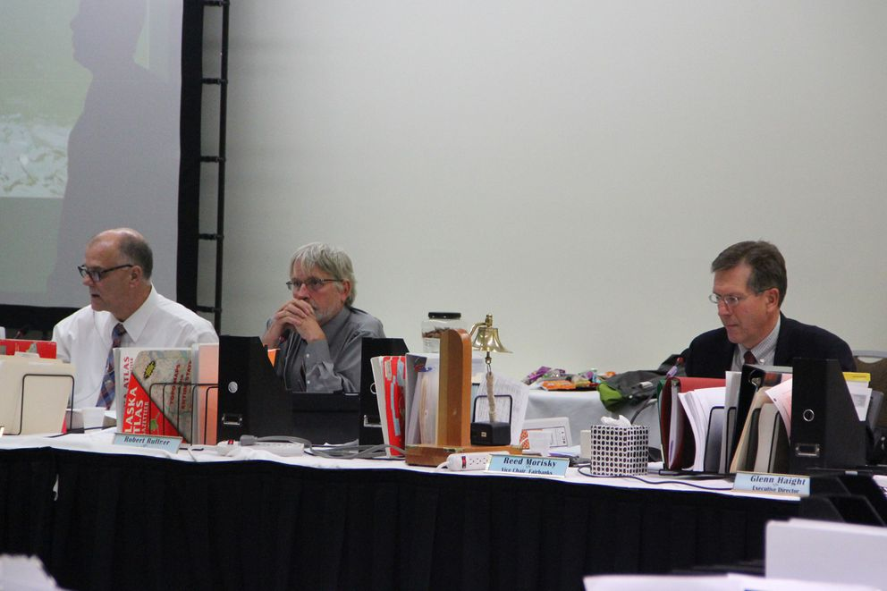 Board of Fisheries members John Jensen, Robert Ruffner and Reed Morisky at the board's annual work session Oct. 16, 2018. (Elwood Brehmer / Alaska Journal of Commerce)