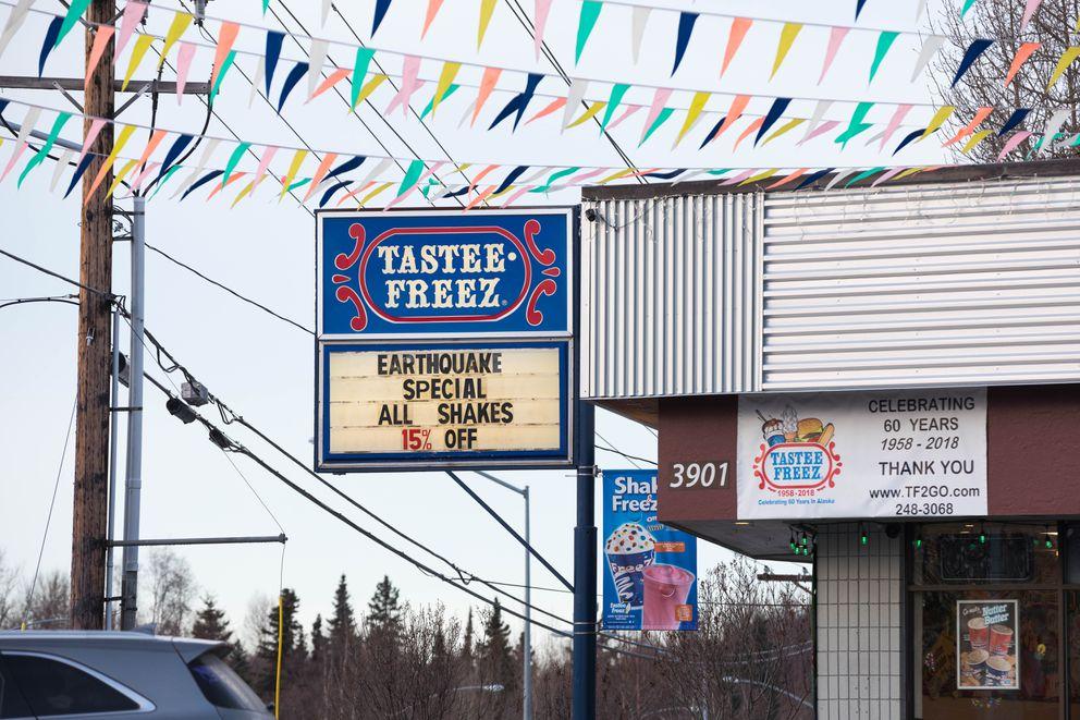 Tastee-Freez advertises an 'earthquake special ' on shakes on Wednesday, Dec. 5, 2018. (Loren Holmes / ADN)