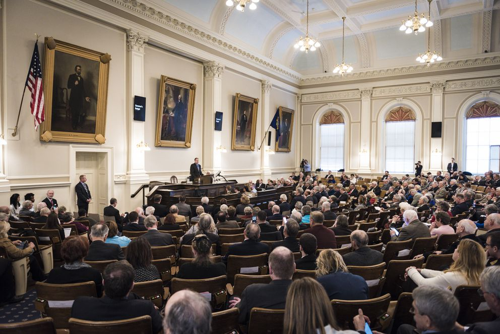 New Hampshire Gov. Chris Sununu delivers his budget address at the State House in Concord, Feb. 9, 2017. (Ian Thomas Jansen-Lonnquist/The New York Times)