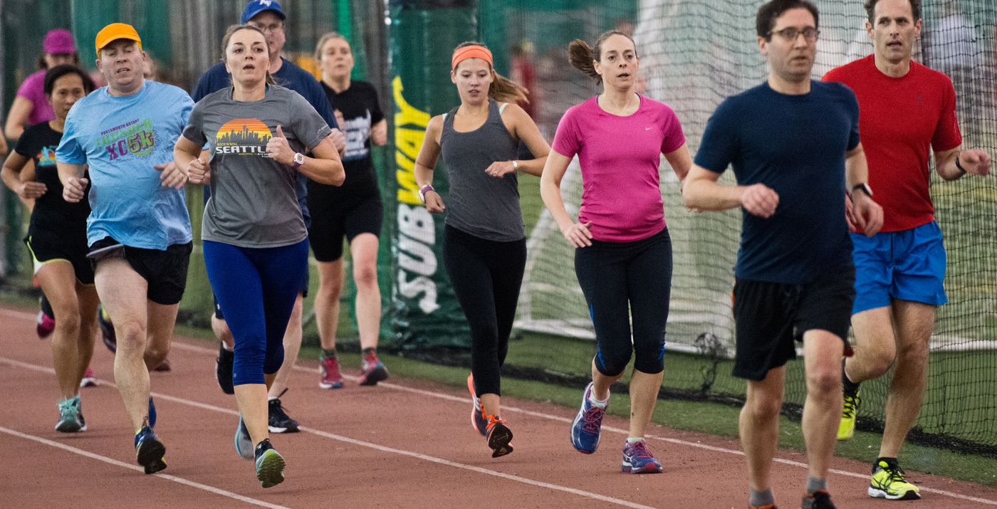 Sabrina Walker runs with a training group at The Dome on Wednesday, February 17, 2016.